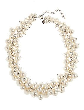 Marks and Spencer Pearl Effect Cluster Necklace cream mix TnALK