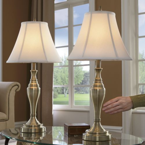 Set of 2 satin gold touch table lamps from seventh avenue dw78256