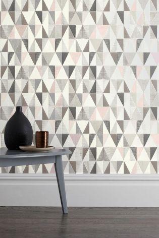 Blush Tri Textured Geo Wallpaper Bedroom Pinterest