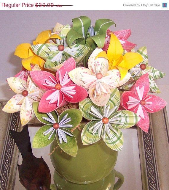 On Sale Paper Flower Floral Arrangement By Cottagelakegifts