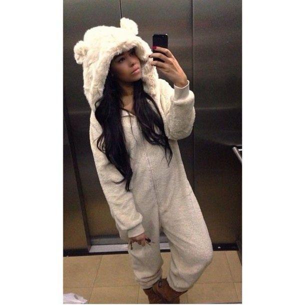 522634a3087c54 Pajamas: fluffy onesie, next, all in one, bear ones, cream onesie ...