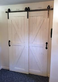 This Single Track Bypass Barn Door Hardware Kit Allows Two Doors To Over Lap Each Other So They Are Bypass Barn Door Bypass Barn Door Hardware Barn Door Closet