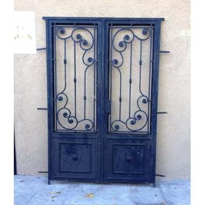 Elcarreton puerta 2 hojas estilo antiguo en hierro for Puerta de madera doble estilo antiguo
