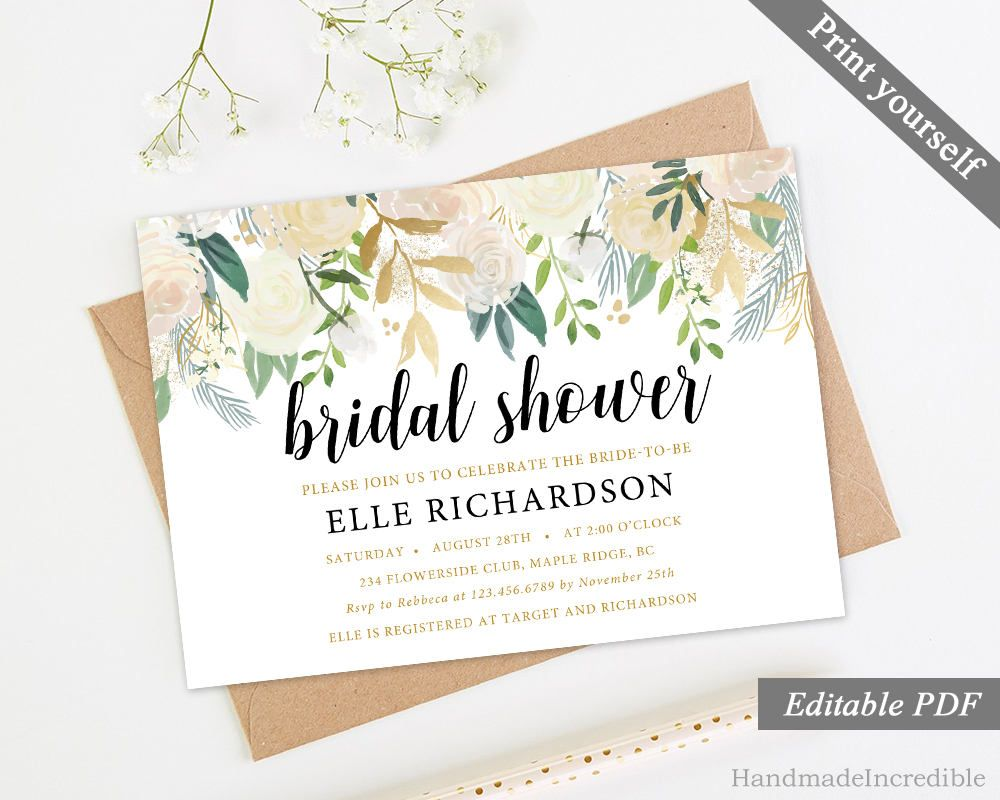 Greenery And Gold Floral Bridal Shower Invitation Template Printable