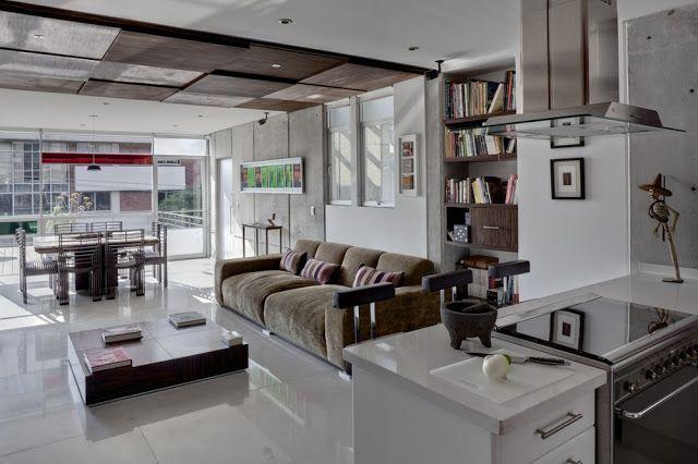 Espacios integrados cocina sala comedor en artesydisenos for Cocina salon comedor integrados