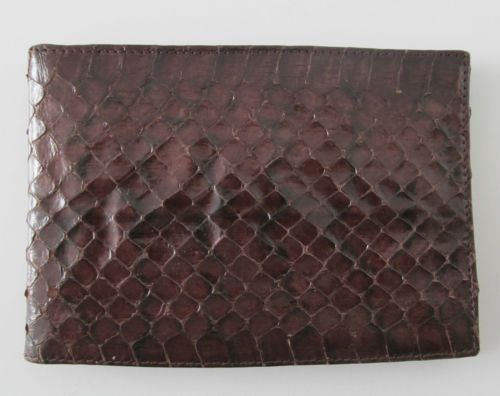 #Vintage brown #snakeskin reptile #leather bi fold wallet R14184 #style #love #old #followme #ebayauction