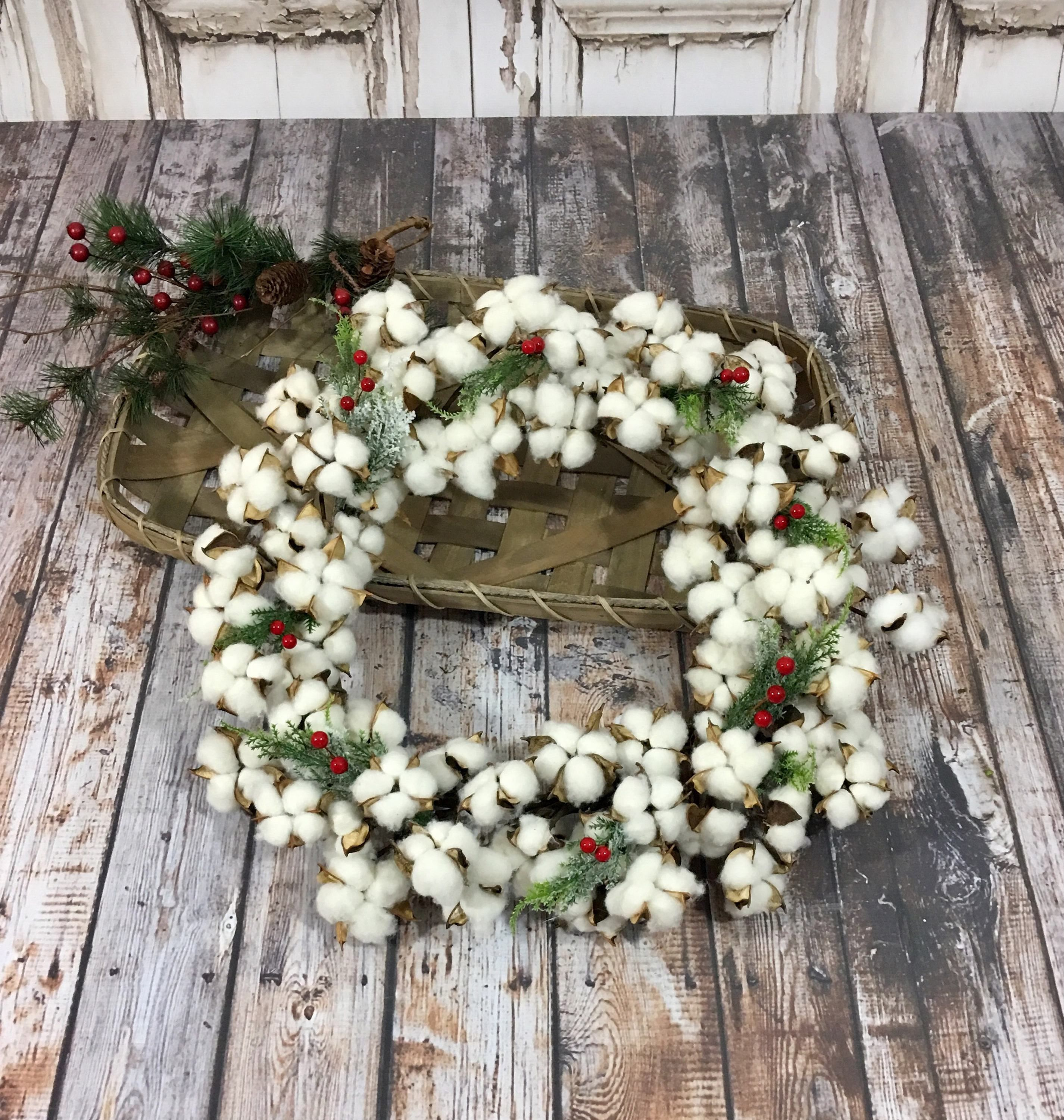 Christmas Cotton Wreath with Red Berries Products