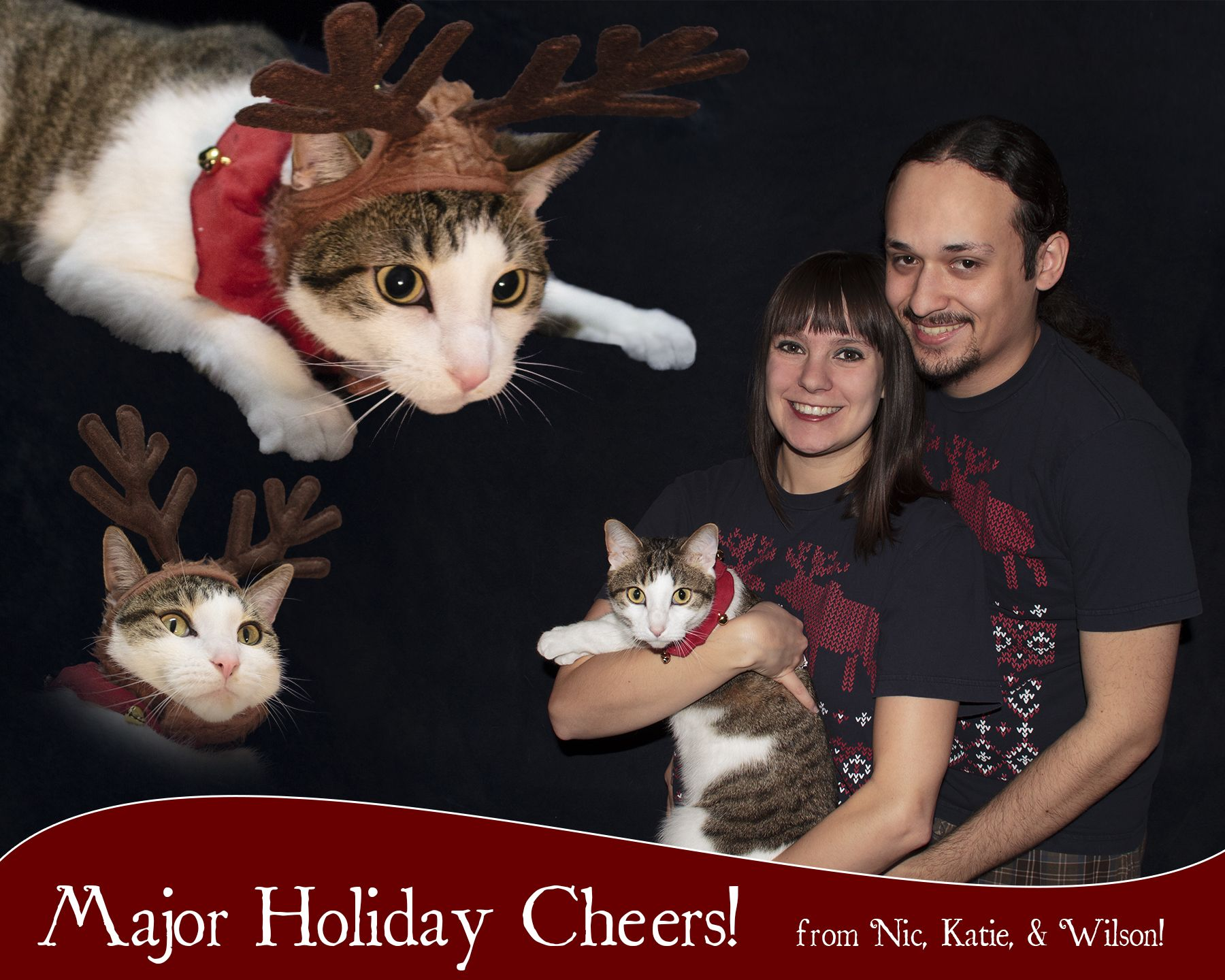 Our first family Christmas card Wilson our cat is the main