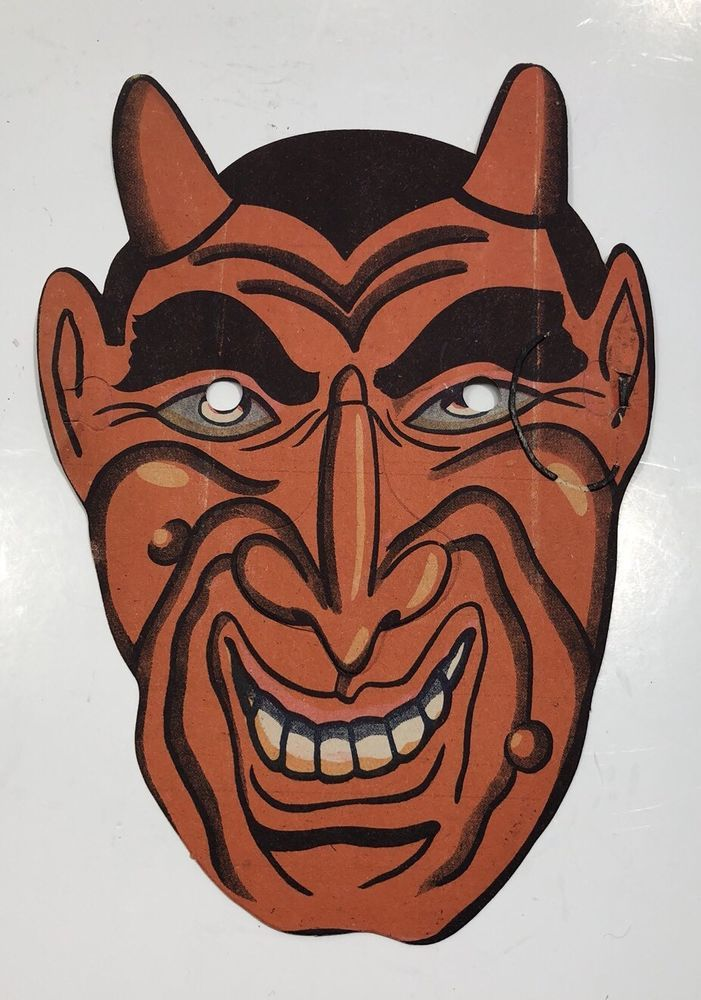 Vintage Halloween Mask Devils Face Unused Cardboard 1960s