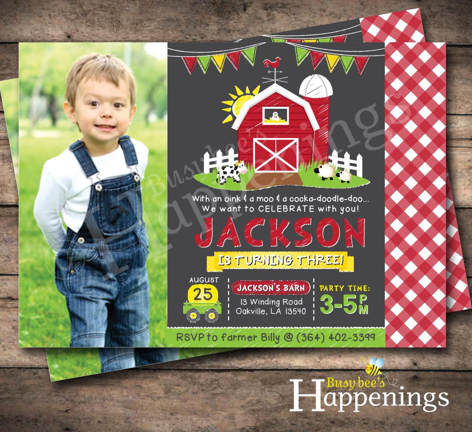 Farm Invitations Old McDonald Invitations by BusyBeesHappenings ...