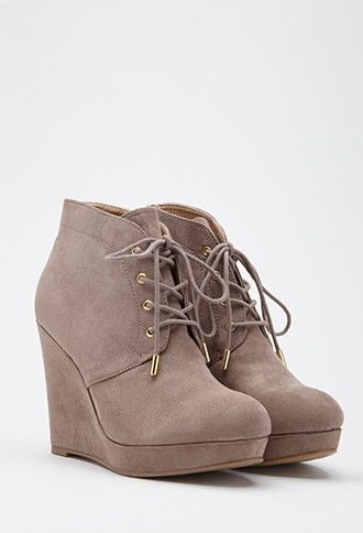 848643af6f6133 Lace-Up Wedge Booties