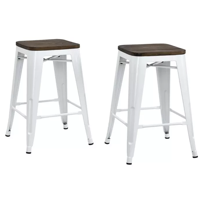Set Of 2 24 Fiora Backless Metal Counter Stool With Wood Seat Room Joy In 2020 Counter Stools Backless Farmhouse Bar Stools Counter Stools