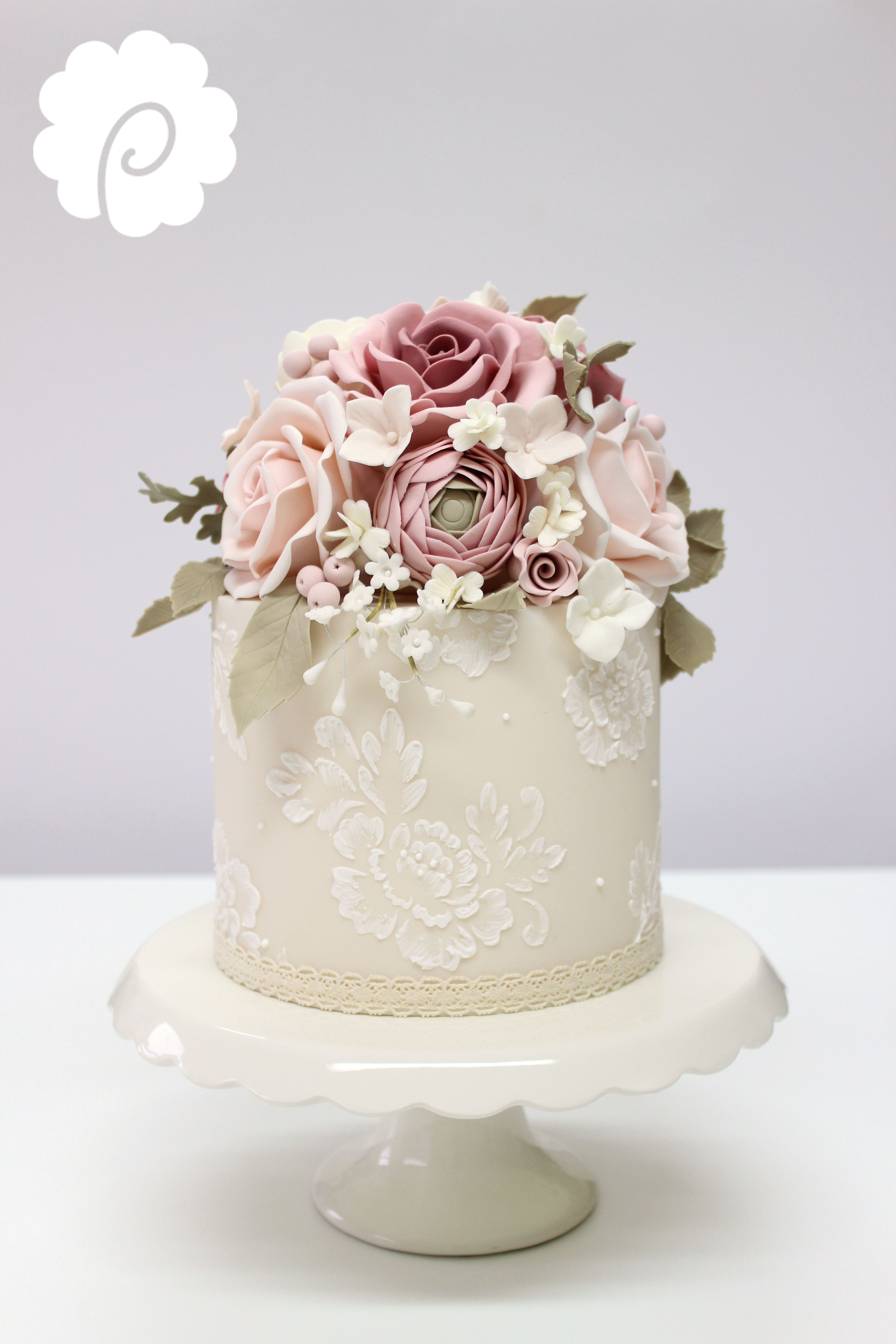Sugar Flower Decorative Vintage Mini Wedding Cake In Soft Dusky