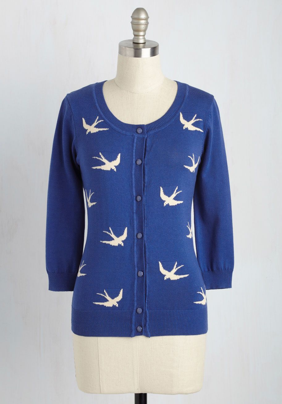 Sweaters - Birdlandia Cardigan in Blue | UNIQUE FASHION ...