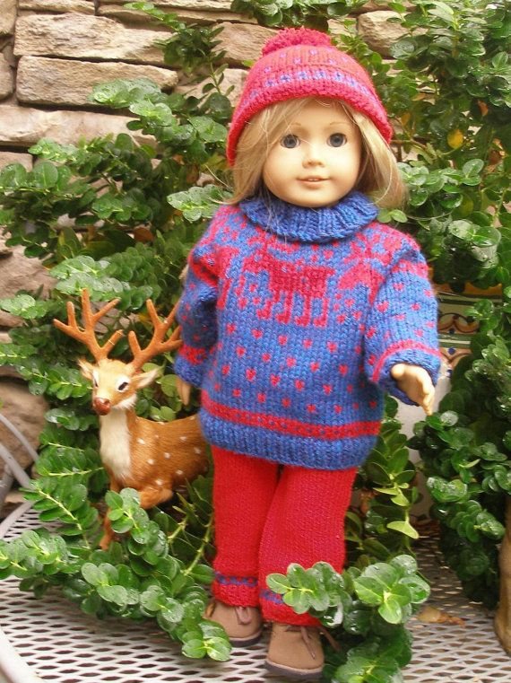 REINDEER Downloadable Knitting pattern for any 18 inch Doll ...