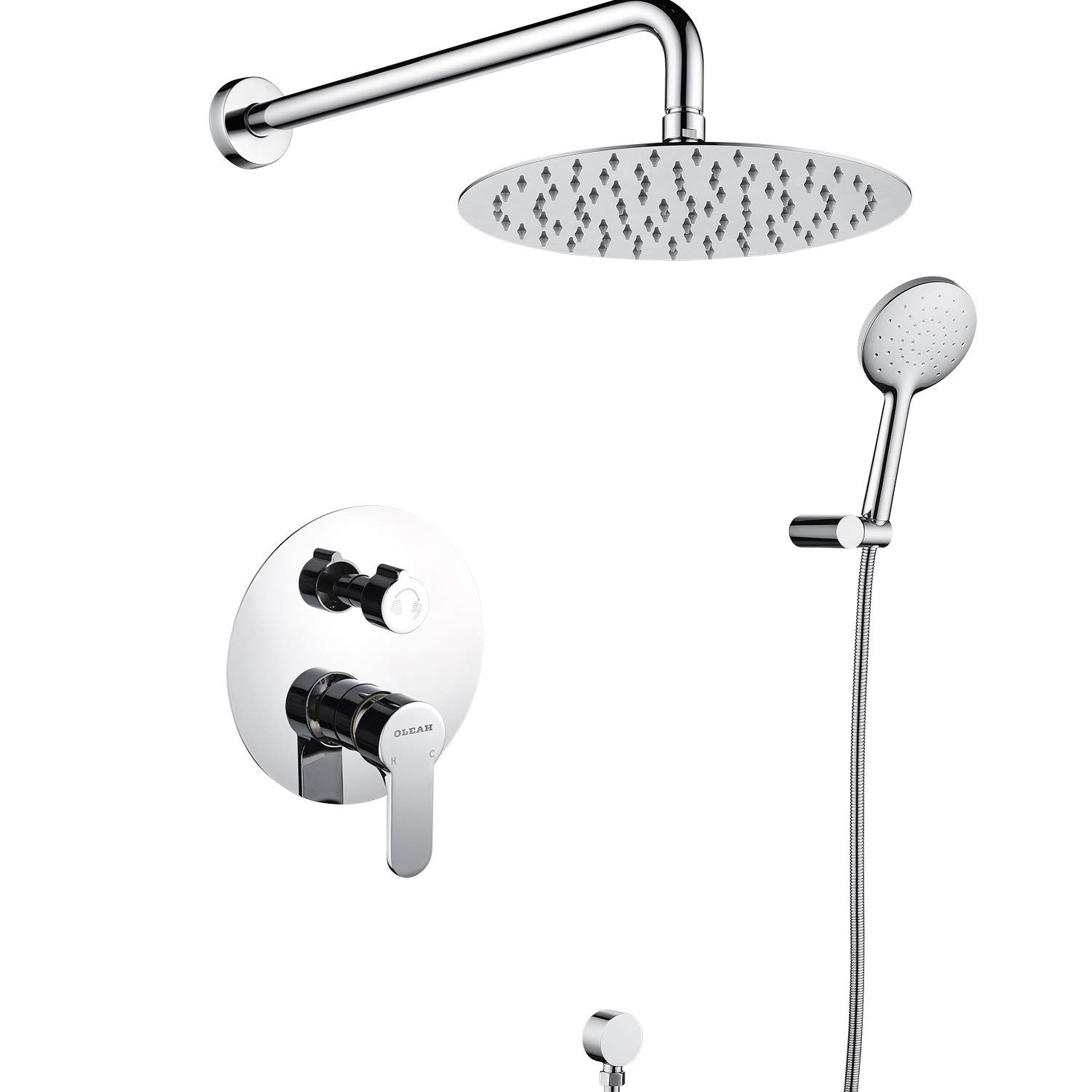 Oleah Bathroom Shower System Dual Head Set Wall Mount Shower Faucet With Rainfall Shower And Handheld Show Bathroom Shower Systems Shower Systems Shower Faucet [ 1500 x 1500 Pixel ]