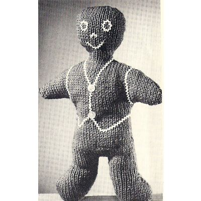 Knitted Gingerbread Man A Stuffled Toy Pattern Free Vintage