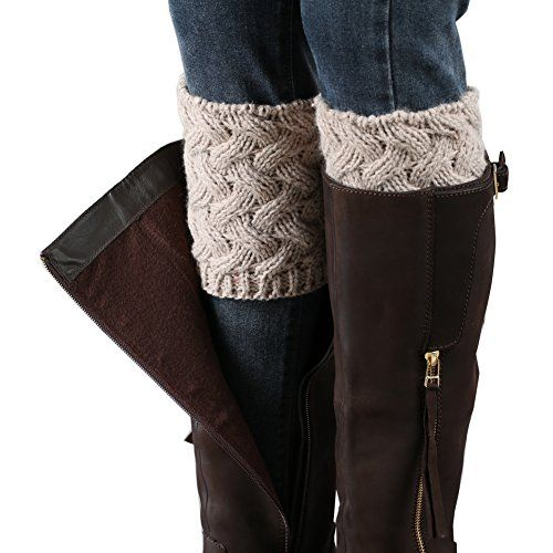 2 Pairs Women\'s Crochet Leg Warmers Winter Cable Knit Boot Cuffs ...