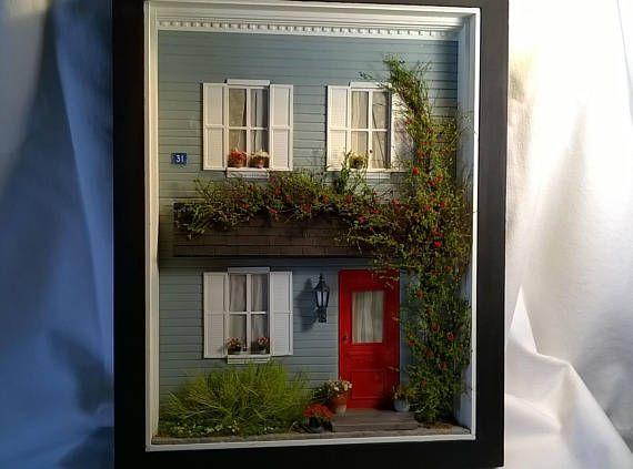 Dollhouse, 1 20 Miniature Model House Front Diorama, Sculpture Art