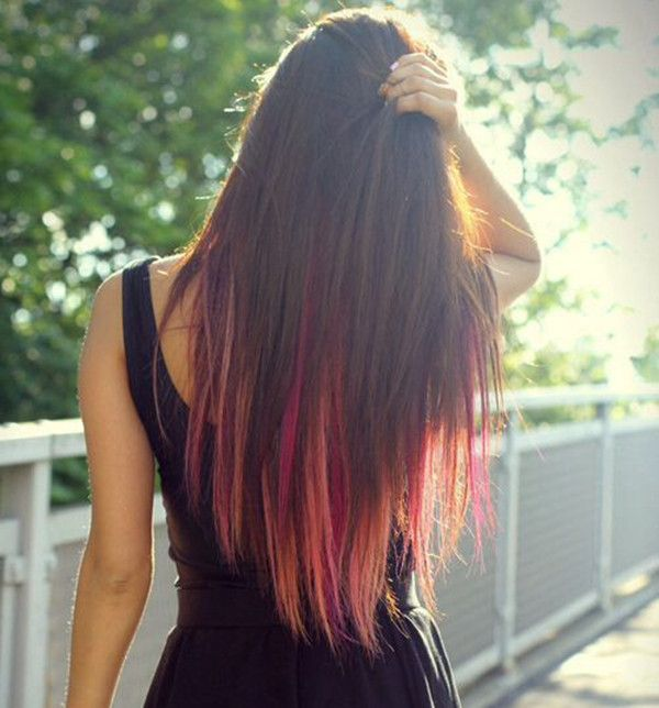 One Step To Own Your Unique Red Ombre Hair Color Hair Color Pink Underlights Hair Hair Styles