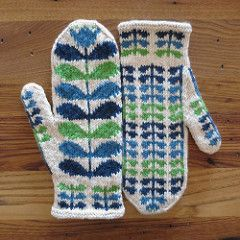 Cheerful mittens inspired by the designer Orla Kiely. Pattern by by Kat Lewinski/Just Crafty Enough