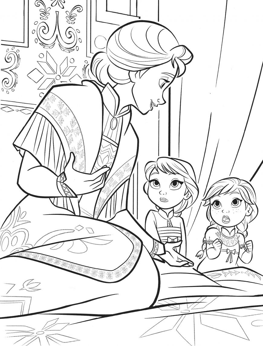 Frozen 2 Coloring Page Baby Elsa And Anna With Mother Queen Iduna Elsa Coloring Pages Disney Coloring Sheets Disney Princess Coloring Pages