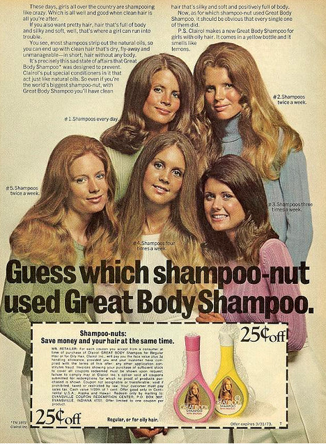 Give me a head with hair...1972 Clairol ad via Found in Your Mom's Basement