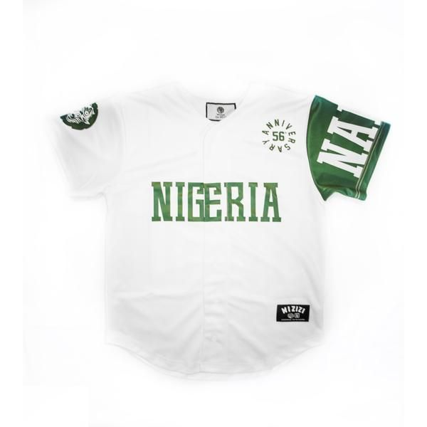 Limited Edition Nigeria Independence Baseball Jersey Mizizi Nigeria Independence Mens Tops Nigeria