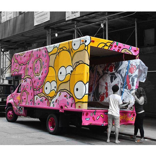 Graffiti work truck the donuts for homer simpson incarceratedjerkfaces on instagram