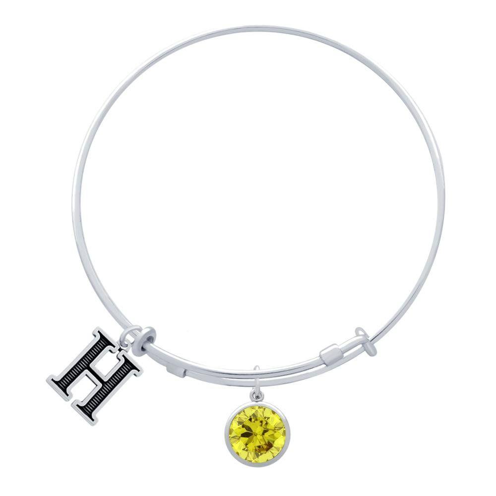 Jenaforte sterling silver expandable charm bangle birthstone