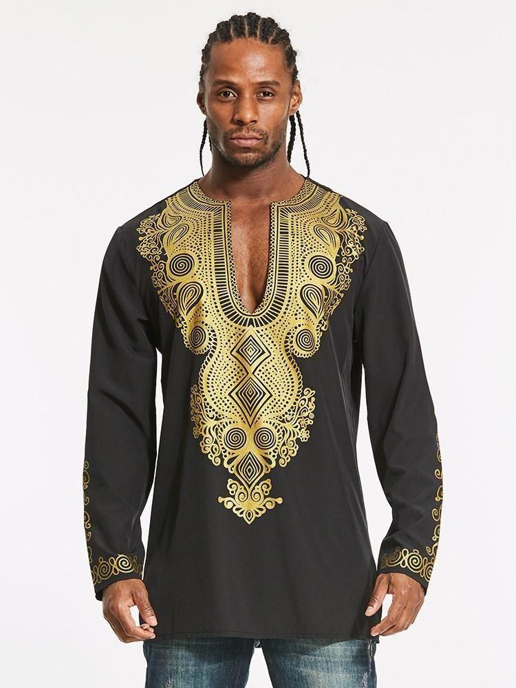 Dashiki V Neck Golden African Print Straight Men S T Shirt Mensoutfits African Men Fashion African Fashion Designers African Fashion