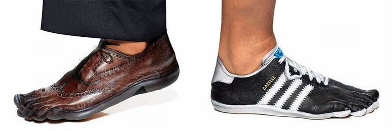 The leather shoes - cow hide on human skin canvas? What a pair!