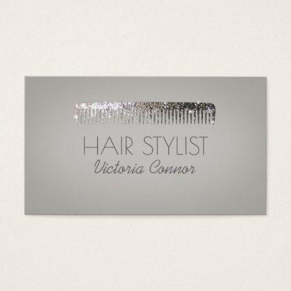 Hairstylist businesscards glitter comb haircut stylist elegant shop glitter comb haircut stylist elegant grey card created by jolantaprunskaite colourmoves