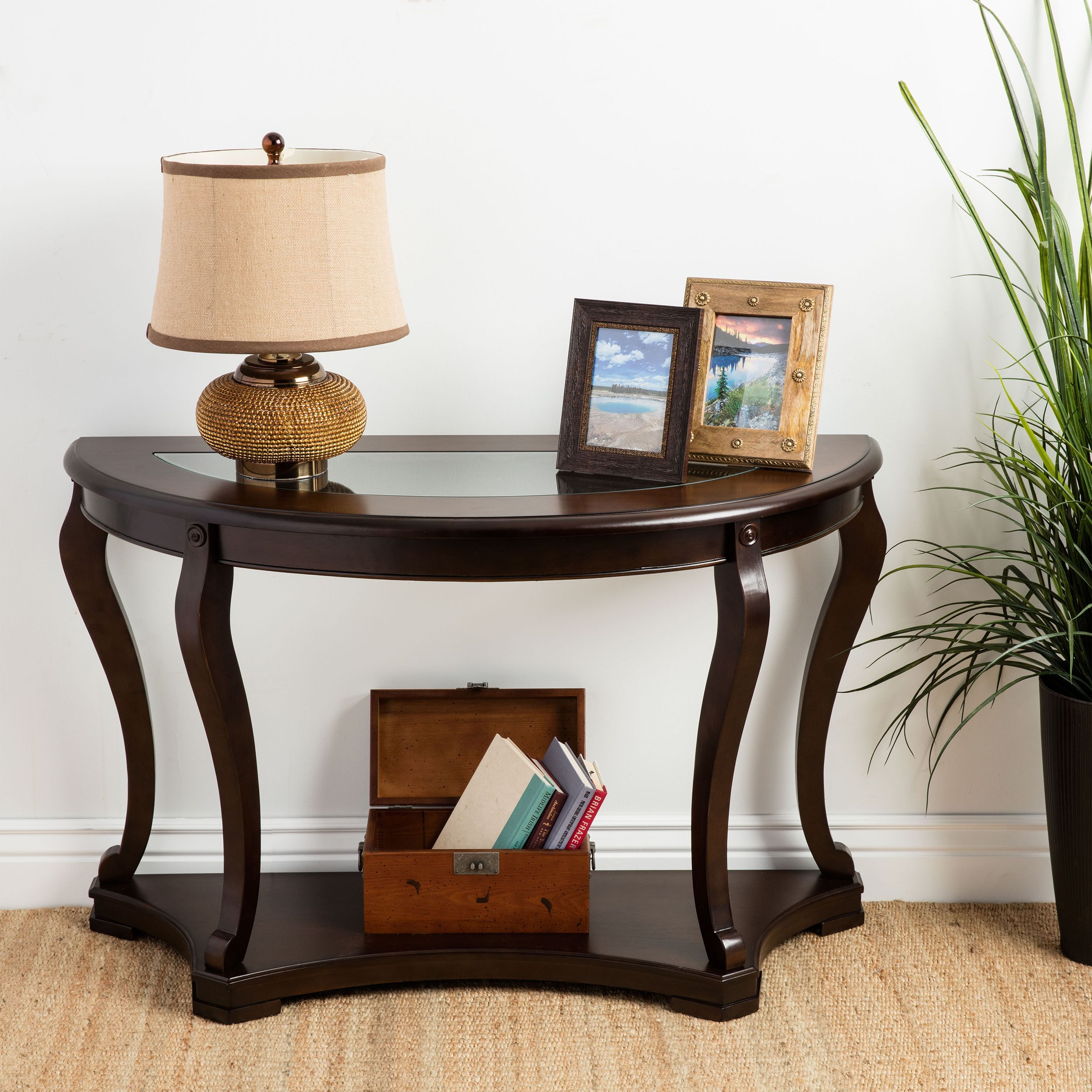 Geurts Espresso Wood And Glass Sofa Table Brown Wood Sofa Table
