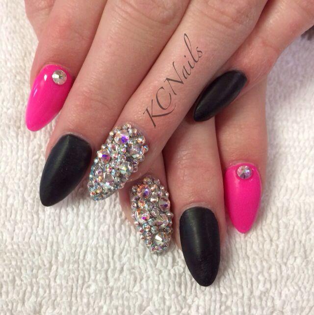 Pin By Kelsey Richardson On Nail Tech Black Acrylic Nails Pink Shellac Hot Pink Nails