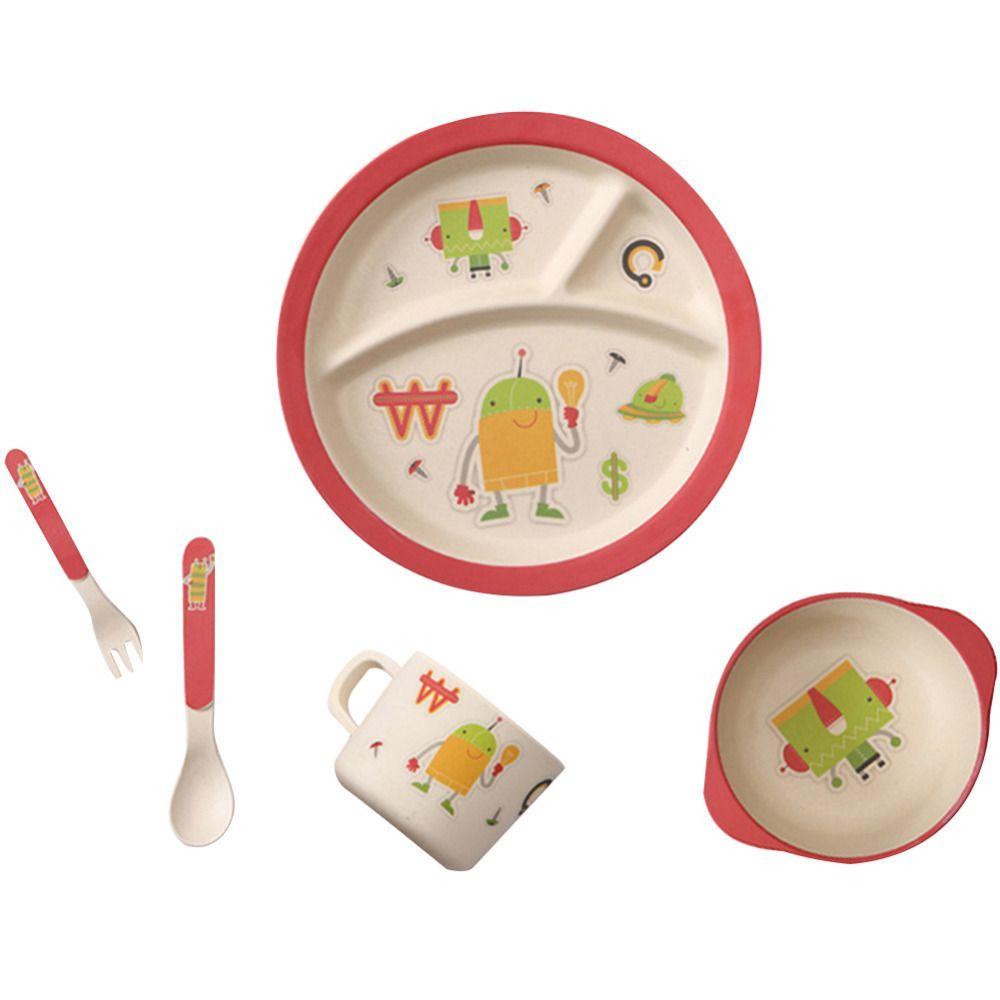 5pcsset Bamboo Fiber Children Tableware Set