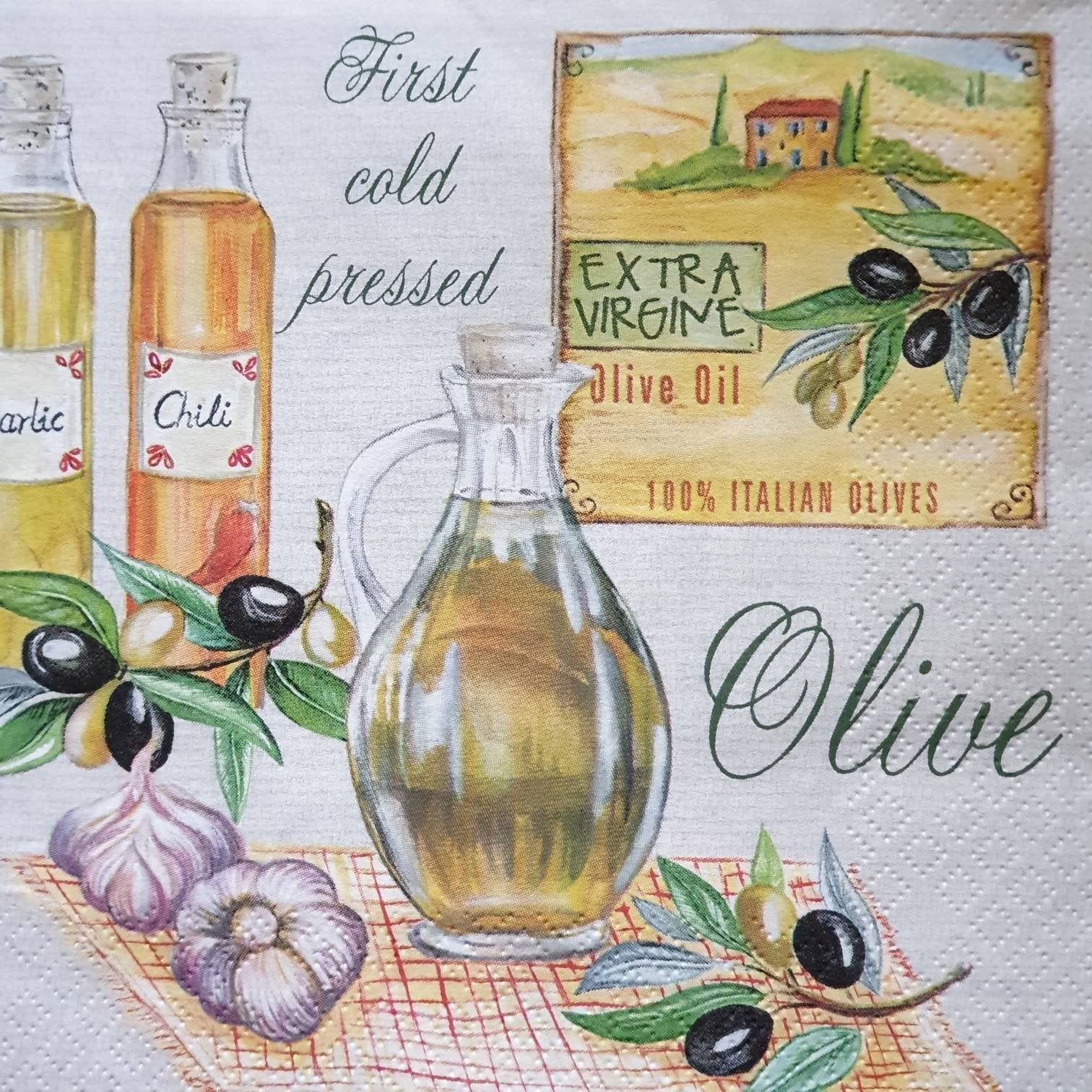 4 Aromatic Olive Oil Tissue Paper Napkins perfect for decoupage technique & crafts, Olives Napkins, Lunch Napkins Serviettes 13 inch B.New