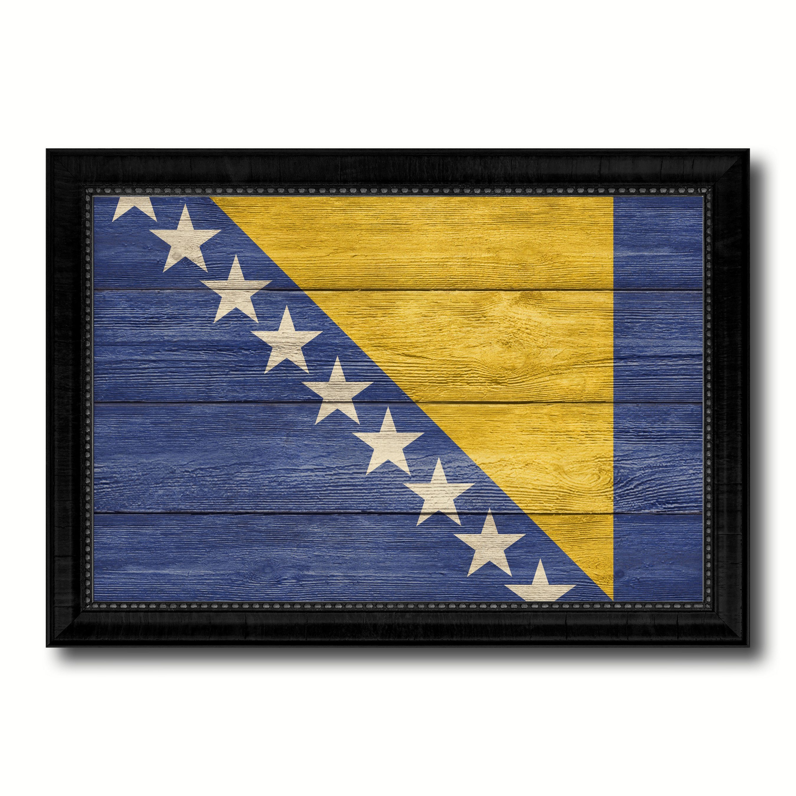 Bosnia Country Flag Texture Canvas Print with Black Picture Frame ...