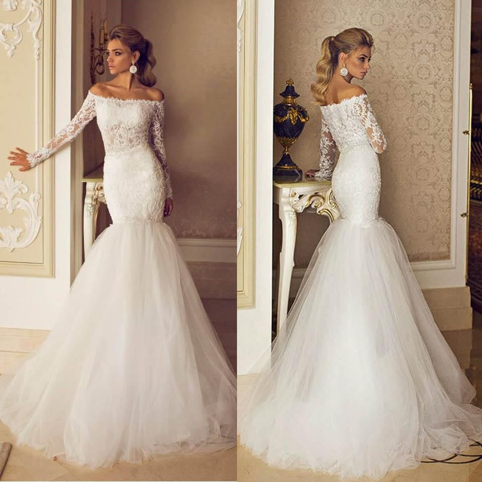 Fashion Mermaid Wedding Dresses 2015 With Long Illusion Sleeves Sexy Off  Shoulder Sweep Train Lace Sheer Tulle Winter Wedding Gowns Bo6916 Wedding  Dress ...