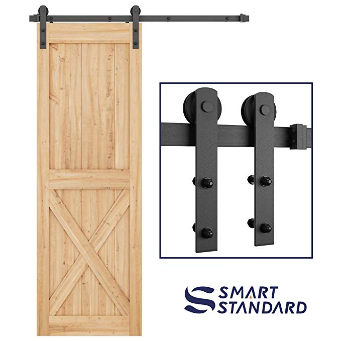 Amazon Com Smartstandard 5ft Heavy Duty Sturdy Sliding Barn Door Hardware Kit Smoothly And Quietly In 2020 Sliding Barn Door Hardware Sliding Door Hardware Barn Door