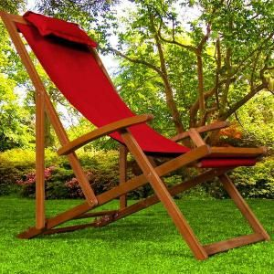 Chaise Longue Pliante En Bois Tissu Rouge