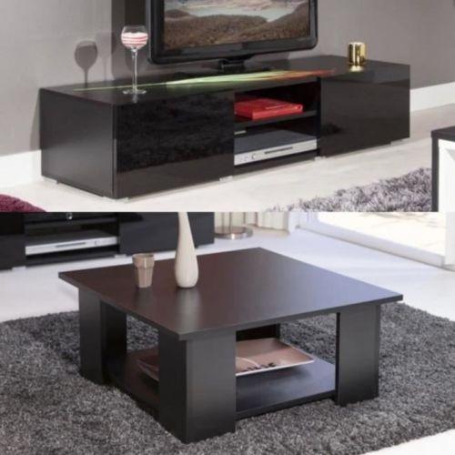 183 L Ensemble Lime Salon Complet Coloris Noir 2 Pieces 1 Meuble Tv 140cm 1 Table Basse Carra Home Home Decor Coffee Table