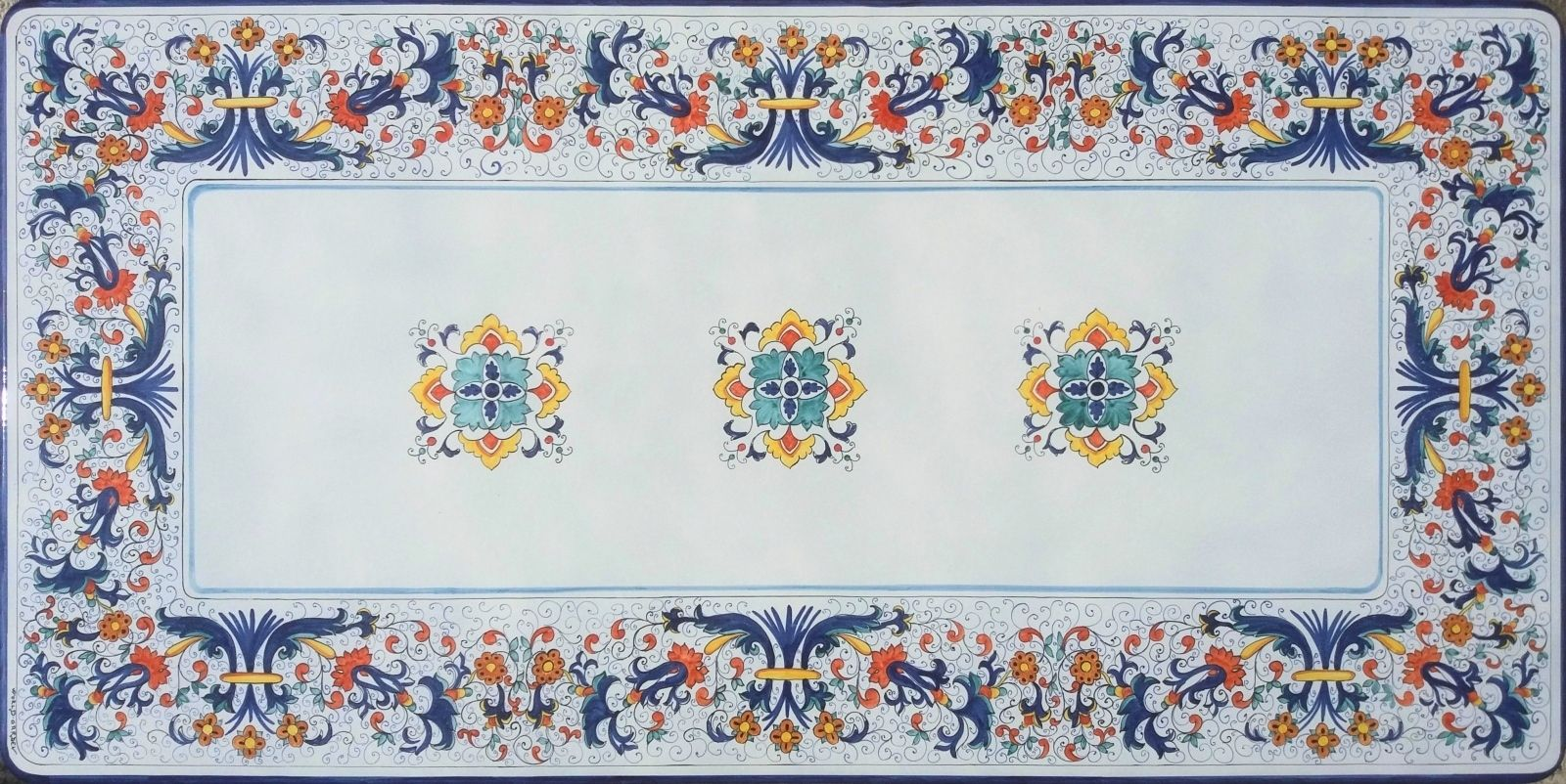 Tavoli Da Giardino Deruta.Piano Per Tavolo Ricco Deruta 200x90 Cm Ceramiche Di Vietri Tavoli