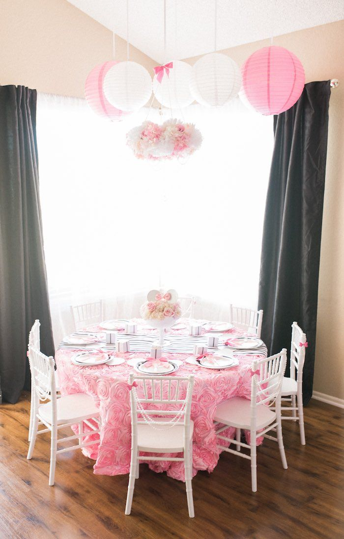 Elegant Birthday Party Decorations dining table from an elegant minnie mouse boutique birthday party