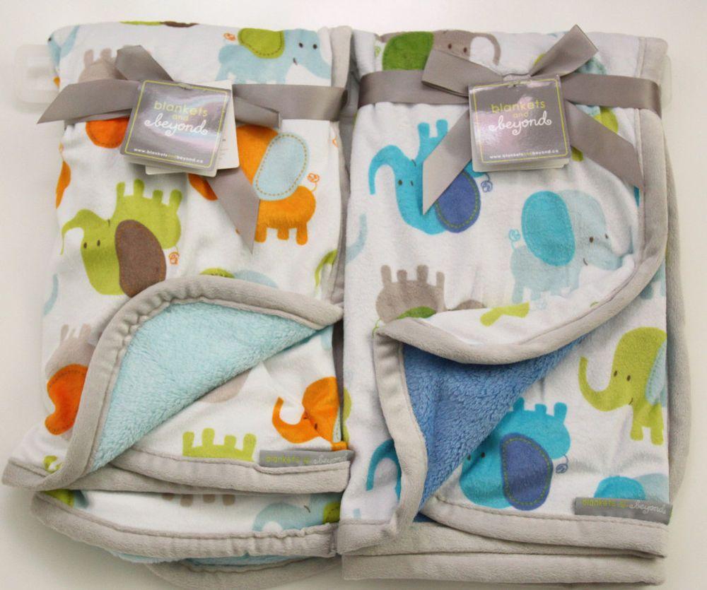 Blankets Beyond Baby Blanket Elephant Green Blue Gray