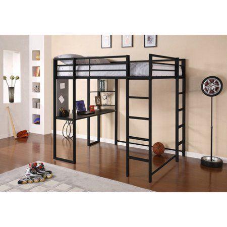 Abode Full Metal Loft Bed over Workstation Desk, Multiple Colors ...