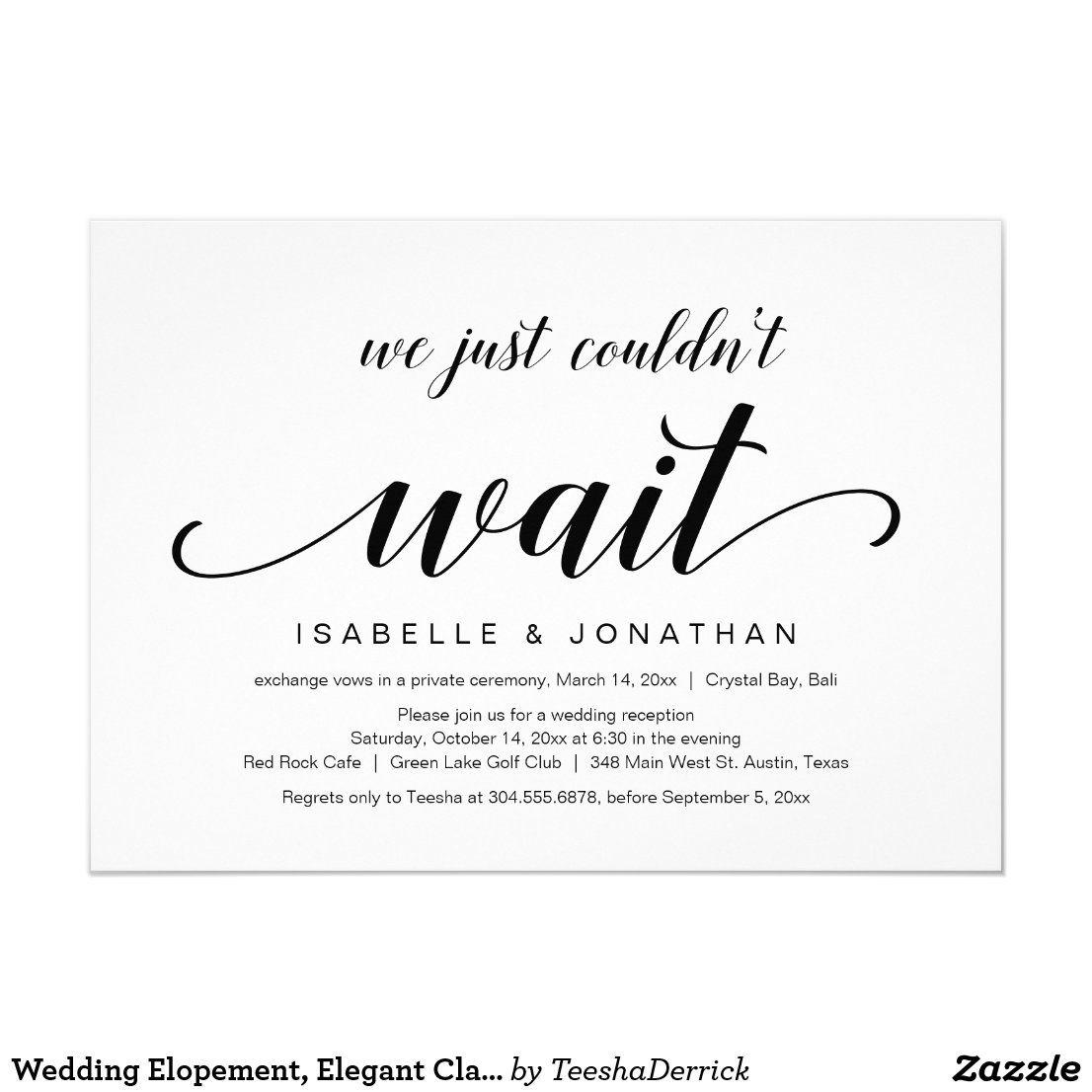Wedding Elopement, Elegant Classy Black Script Invitation