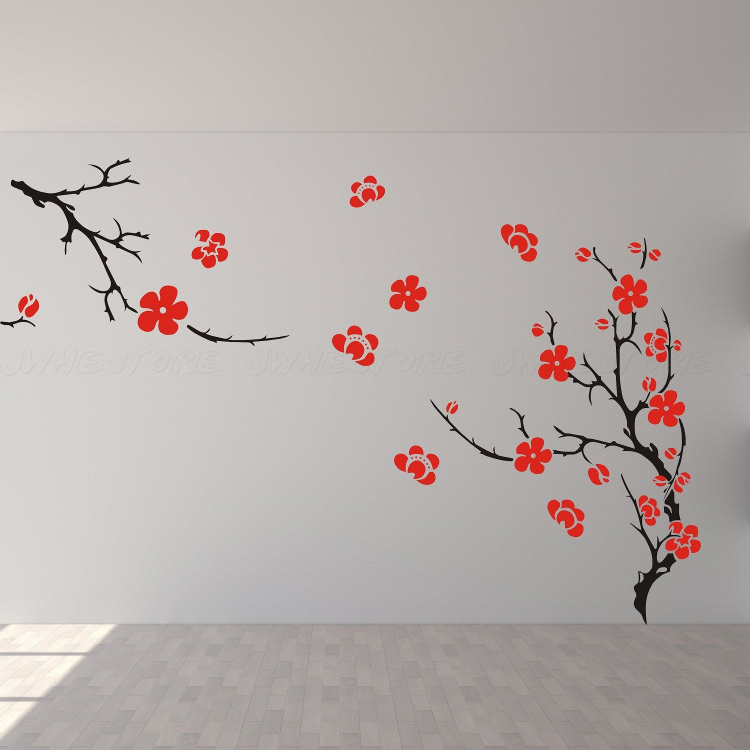 cherry blossom wall decor wall decal wall art wall sticker for bedroom living room J529. $69.00, via Etsy.