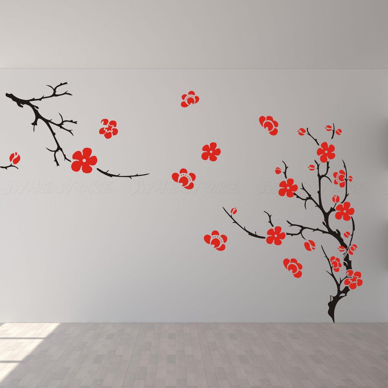 cherry blossom wall decor wall decal wall art wall sticker for bedroom living room J529. $69.00, via Etsy.