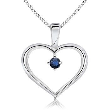 Angara Solitaire Round Sapphire Diamond Pendant Platinum d9Zxv7p2S6